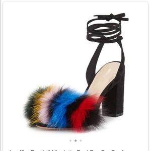Loeffler Randall Nicolette Real Fox Fur Sandal